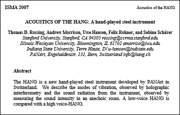 Acoustics of the HANG: A hand-played steel instrument