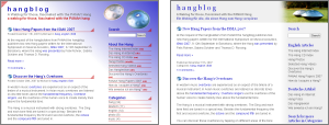 Old and new Hangblog design