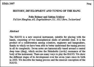 History, Development and Tuning of the HANG